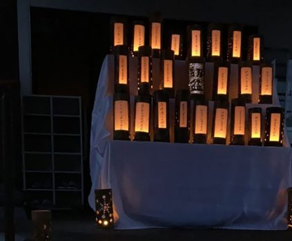 竹灯籠で初盆供養。